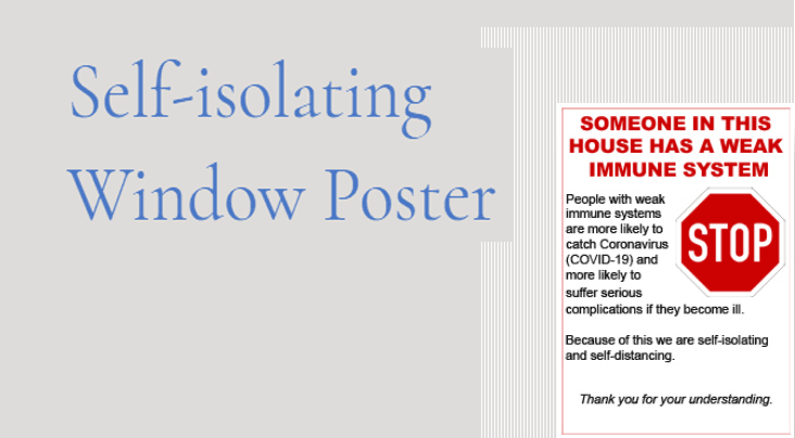 Self isolating poster
